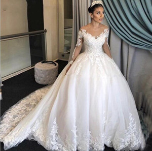 Gorgeous Lace 2021 Ball Gown Wedding Dresses Princess Long Sleeves Vintage Scoop Appliques Chapel Train Marriage Bridal Gowns