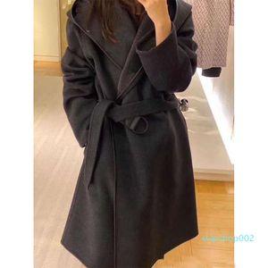 HIGH end women girls HOODED WRAP COAT WITH BELT long sleeve coat jackets outerwear ponchos cape coats temperament cloak shawl coat G2LG