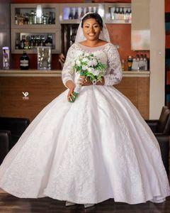 2020 Plus Size Arabic Aso Ebi Lace Beaded Vintage Wedding Dresses Sheer Neck Bridal Dresses Long Sleeves Wedding Gowns ZJ256