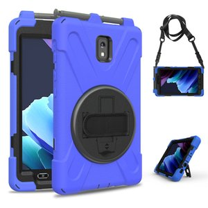 """Military Extreme Heavy Duty silicone pc shockproof case for samsung galaxy TAB active 8"""" SM T570 T575 T577 tablet stand hand Shoulder strap"""