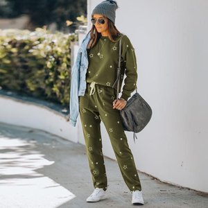 Women's Warm Tracksuit Winter Two Pieces Women Sports Pentagram Printing Pants Sets Suit Ladies Leisure Wear Winter Sets