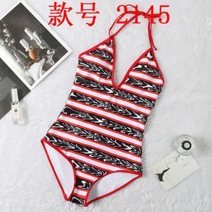 letter deep V sexy print piece Bikini Swimsuit woman