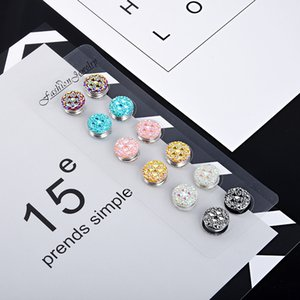 Crystal flower veil brooch pin Elegant magnet brooch hijab pin muslim girls burka scarf fix pin buckle 12pcs 201009