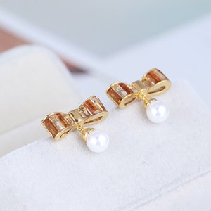 Fashion- charm drop earring with crystal knot pearl in in 1.8*1.4cm for women wedding jewelry gift Free shipping PS6745
