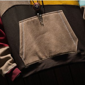 April Momo Homme Sweats à capuche Sweatshirts Plus Taille Patchwork Couleur Contrasted Couleur Casual Chemise Homme Pull Hip Hop Sweat à capuche 201119