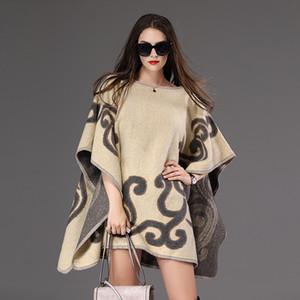 señoras de la manera retro a cuadros poncho de las nuevas mujeres de otoño e invierno bufanda envuelta bufanda de cachemira de punto de invierno niñas chal chaqueta de punto manta clo