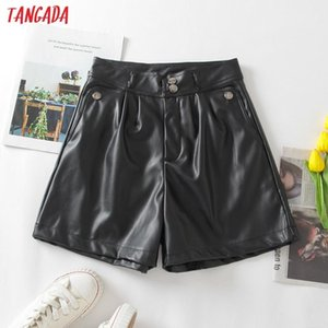Tangada 2020 Autumn women elegant pu leather shorts zipper pockets female retro basic casual shorts pantalones 3W204