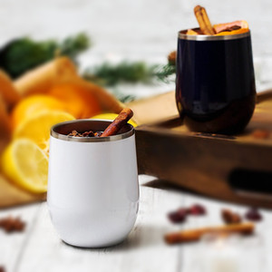 12oz blank sublimation white stainless steel egg cup stemless red wine glass for heat transfer DIY photo cup