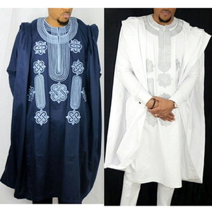 H&D African Suit For Men Robe Shirt Pants Set Long Sleeve Tops Embroidery Agbada Clothes Boubou Africain Homme Traditional Robes Q1202