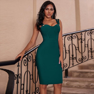 Vestidos Bandage 2020 New Women Spaghetti Strap Sexy Green Bandage Dress Bodycon Celebrity Evening Club Party Dress