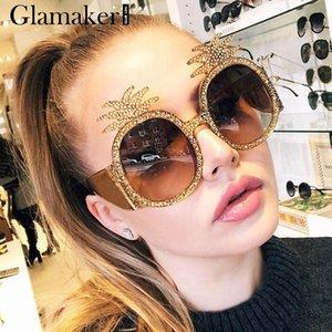 Glamaker Vintage round beach sunglasses women Pineapple brand designer ladies sun glasses Female fashion hiny retro glasses 2019