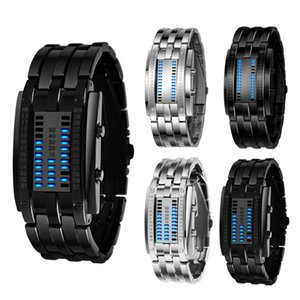 Luxury Watch Lovers Men Women Stainless Steel Blue Binary Luminous LED Electronic Display Sport Watches Fashion Women Watches 201130