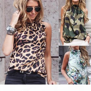 crop top Women Blouses Sexy Leopard Print Ladies Shirts And Tops Halter Blouse Sexy Sleeveless Tops Womens Clothing Summer Female Blouses