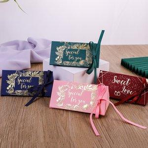 Düğün Kutlama Şeker Kutusu Üçgenler Çikolata Hediye Ambalaj Kutuları Altın Kaplama Hediyeler Wrap İpek Şerit Yeni Varış 0 33CY M2