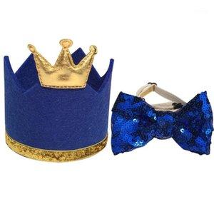 2 قطع رائعتين حفلة عيد الاطفال pet تاج قبعة الكلب القط القوس التعادل الترتر bowtie1