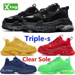 Мода Triple S Clear Sole Dad Обувь 17FW Платформа Черная Белая Желтая Радуга Бежевый Серые Мужчины Женщины Кроссовки Бег Баскетбол Обувь