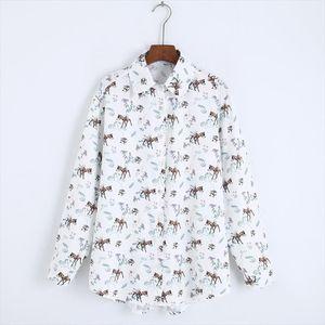 Women Loose Shirt Autumn 2019 New Fashion Animal Prints Blouse Casual Top Christmas Gift Clothing Modern Girl Long Sleeve Shirts
