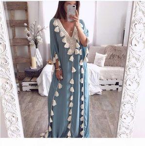 Summer Muslim Dresses Arabic Islamic Dubai Kaftan Abaya Middle Eastern Moroccan Kaftan Dress Indonesia Turkey Femme Casual Robe
