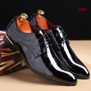 New 2017 Top Patent Leather Pointed Oxfords Men Classic Business Shoes Men's Dress Shoes Genuine Leather Office Shoes Wedding Party Shoe