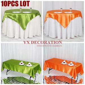 Tabela de pano 10 pcs Lot Cetim Casamento Toalha de Tablecloth Sobreposição para Decoração de Evento de Banquete