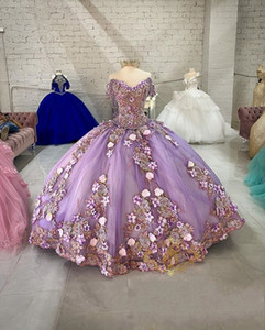 Lavender Off Shoulder Beads Quinceanera Dresses Ball Gown Sweet 16 Year Princess Dresses For 15 Years vestidos de 15 años anos