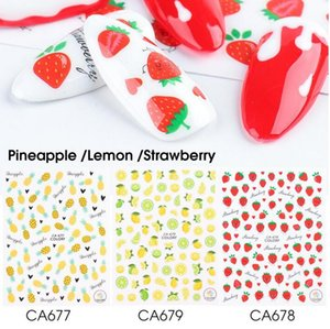 3D Lemon Pineapple Strawberry Nail Art Yellow Stickers Nail Decals Summer Adhesive Colorful Fruit Papaya Manicure Slider Foil