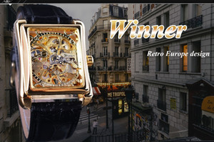 Winner 2019 Retro Casual Series Rectangle Dial Design Golden Pattern Hollow Skeleton Watch Men Watch Top Brand Mechanical 2019