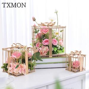 Adereços de casamento Simulação Floral conjunto de flores de seda decoração Caixa de presente decorativa janela
