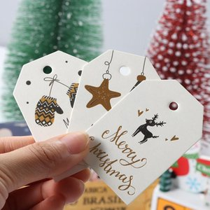 50Pcs Christmas Tree Hanging Tag Paper Tags Label Home Xmas Christmas Decor Xmas Party Gifts DIY Craft Wrapping Labels