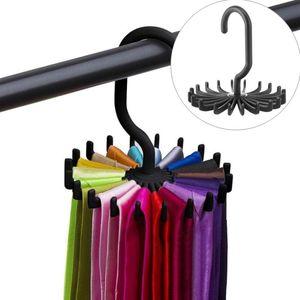 Rotación de corbata Rack Hanger Closet Organizer Colgando Almacenamiento Bufanda Rack Tie Hack Holds Lazos de cuello Gancho HWD3099