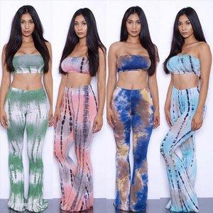 Large Size 2 piece Set Women Tie Dye Flare Pants Set Bandage Strapless Tube Crop Top Wide Leg Pants Bell Bottoms Tracksuit