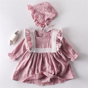 Baby Girl jumpsuit Spring Autumn Newborn Clothes Princess Lace Long sleeve Dress Romper +Hat 2Pcs Suit 201216