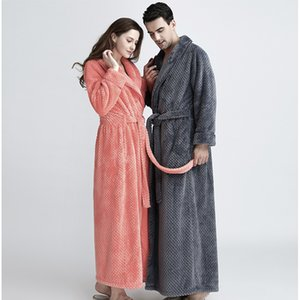 Men Extra Long Thermal Waffle Coral Fleece Bathrobe Winter Thick Flannel Warm Bath Robe Lovers Dressing Gown Male Kimono Robes 201126