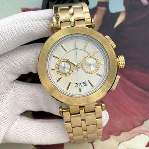 NUEVOS Relojes para hombre Moda Dial Negro Calendario automático Pulsera de oro Descuento Master Menswear Regalo Nuevo Menswear Watch Militares de alta gama