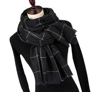 Winter Solider Color Knitting Fashion Plaid Scarf For Women Ladies Cashmere Scarf Long Thicker Warmer Cape