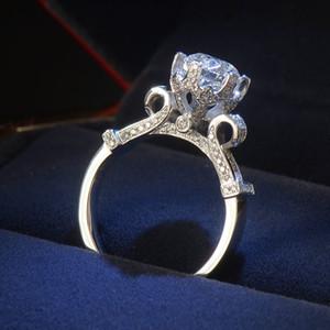 Tamanho 4-10 Victoria Wieck Jóias de Luxo Eternidade Mulheres Rodada 1.5ct DiaMonique CZ Diamante 925 Sterling Prata Casamento Banda Crown Anel Presente