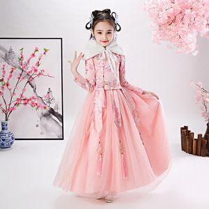 Girls Embroider Hanfu Cheongsam Chi-Pao Kids Dress Elegant New Year Princess Children Party Wedding Gown Dress Dance Wear