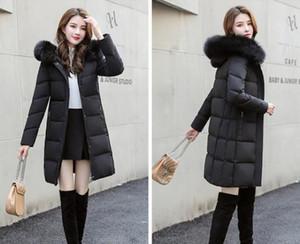Женщины зимняя куртка дамы настоящий енот воротник меховой воротник утка внутри теплого пальто Femme со всеми тегом Slim Fit Outdoor Parka