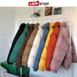 LAPPSTER Hombres Harajuku colorido de la burbuja capa de la chaqueta de invierno para hombre Streetwear Hip Hop Parka coreanos ropa negra Puffer Jackets 201119