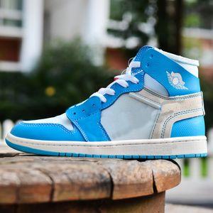 Баскетбольные туфли 1 Ретро Высокий у университета Университет Белый Синий Чикаго 85 Мужчины Спорт Открытый Высокое качество с оригинальной коробкой AQ0818 US 5.5-11