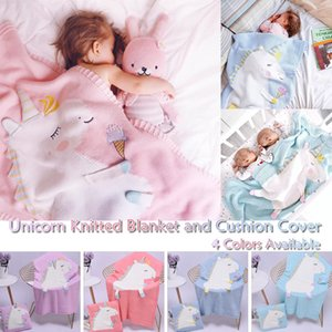 Unicorn Hand-knitted Cotton Napping Blanket Pillow Cover Kit For Kids Baby Soft knitted Blanket Towel Quilt Q20 201113