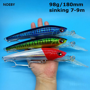 NOEBY 3PCS LOT Big Sinking Minnow Fishing Lure 98g 180mm 9 colors Depth 7-9m Trolling Lure Artificial Bait wWbbler of Minnow Q1123