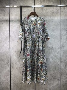 2021 3/4 Manga O Pescoço Moda Milan Runway Dress Dress Designer Vestido Marca Mesmo estilo Vestido 1212-10