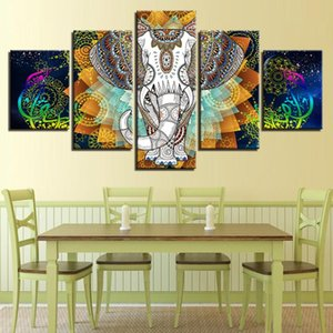 HD Print Art Animal Canvas Pictures 5 Pieces India Elephant And Abstract Color Flower Paintings Modular Frame Bedroom Wall Decor
