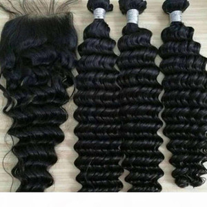 Top quality brazilian Human braiding Hair 3 Bundles weaving with 4*4 lace closure natural color deep wave hair wefts