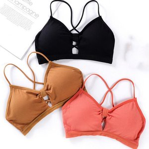 Cotton Backless Sport Bras For Women Deep V Cup Seamless Padded Push Up Bra Wire Free Intimates Female Bras Underwear
