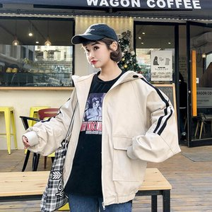 SexeMara S M L XL Cool Spring Fashion Women Loose Stripe Jacket Pink Full Sleeves Zipper Tops With Hat Baseball Jacket Femenino