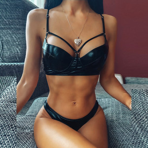 2020 Women's Biquini Solid Color Bright Leather Split Underwear Set Hollow Out Bathing Suit Push Up Padded Female IntimatesX1122