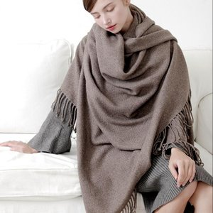 100% Pure Wool Scarf for Women Winter Scarf 2020 Thicken Wool Warm Long Blanket Shawls and Wraps for Women Poncho Stole
