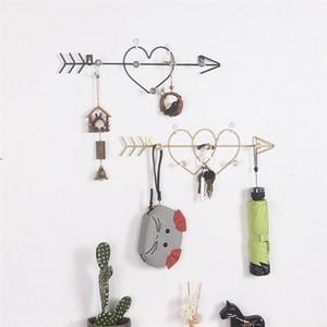 Iron Art Wall Hook Double Heart Wall Hanger Key Decorative Hooks Door Entrance Coat Hat Key Hangers for Home